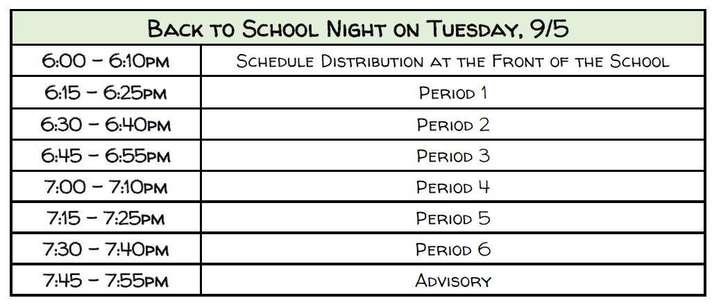 Back-to-School-Night Schedule
