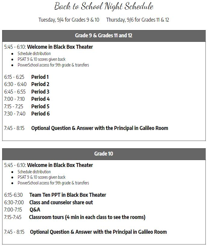 DVS Back to School Night Schedule (2018)