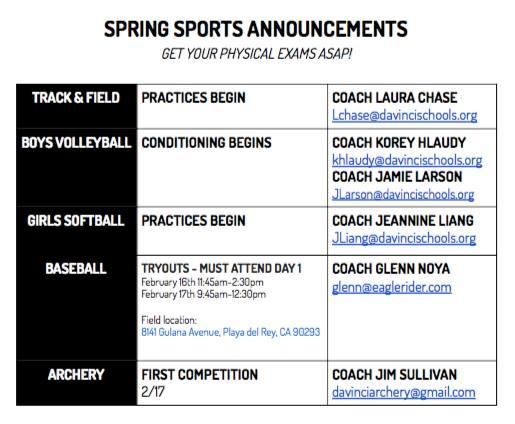 SpringSportsAnnouncements