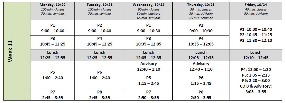 Week 11 Schedule