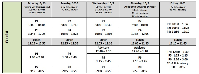 Week 7 Schedule