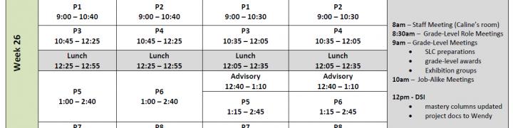 week 26 schedule